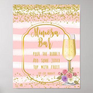 Mimosa Bar Wedding Sign pink gold confetti Poster