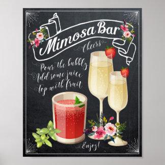 Mimosa Bar Wedding Sign Poster