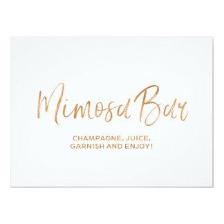 """Mimosa Bar"" Wedding Sign | Stylish Gold Rose Card"