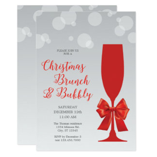 Mimosa Glass Christma Brunch and Bubbly Invitation