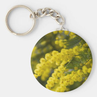 mimosa in bloom basic round button key ring