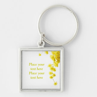 Mimosa Silver-Colored Square Keychain