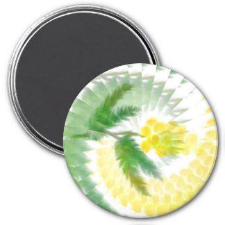 Mimosa Swirl 3 Inch Round Magnet