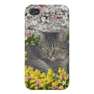 Mimosa the Tiger Cat in Mimosa Flowers iPhone 4 Cases