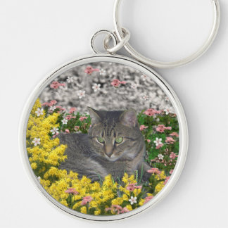 Mimosa the Tiger Cat in Mimosa Flowers Keychain