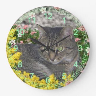 Mimosa the Tiger Cat in Mimosa Flowers Large Clock