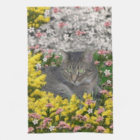 Mimosa the Tiger Cat in Mimosa Flowers Towel