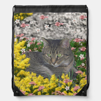 Mimosa the Tiger Cat in Yellow Mimosa Flowers Drawstring Bag