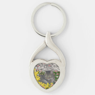 Mimosa the Tiger Cat in Yellow Mimosa Flowers Key Chain