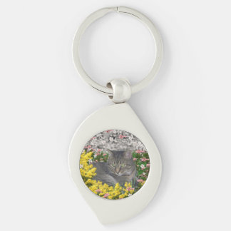 Mimosa the Tiger Cat in Yellow Mimosa Flowers Key Chains