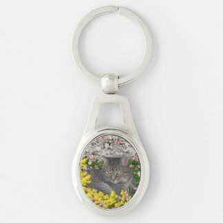 Mimosa the Tiger Cat in Yellow Mimosa Flowers Keychain