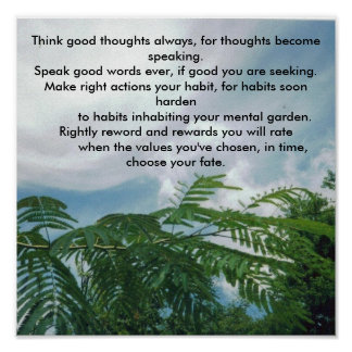 mimosacloudsky 001, Think good thoughts always,... Poster