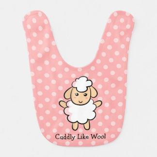 Mimoso como las lanas, ovejas lindas para las niña babero de bebé