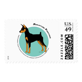 Min Pin Fearless Black and Tan on Green Postage