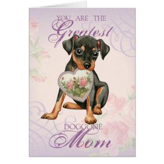 Min Pin Heart Mom Card