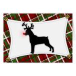 Min Pin Reindeer Christmas Card