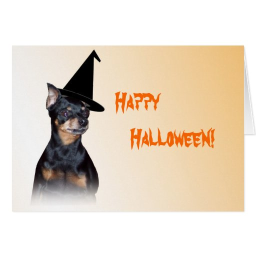 Min Pin Witch Halloween Card