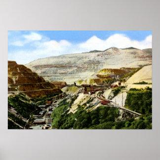 Mina de cobre del cielo abierto del barranco de Bi Póster