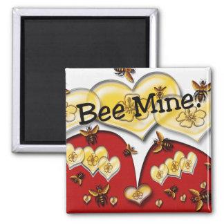 Mina de la abeja imán cuadrado