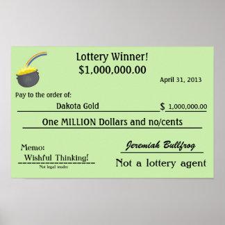 Mina de oro falsa del control de la lotería impresiones