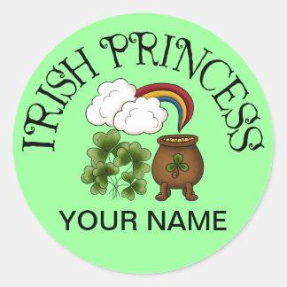 Mina de oro irlandesa de princesa Shamrocks Pegatinas Redondas