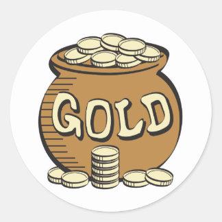 mina de oro retra pegatina redonda