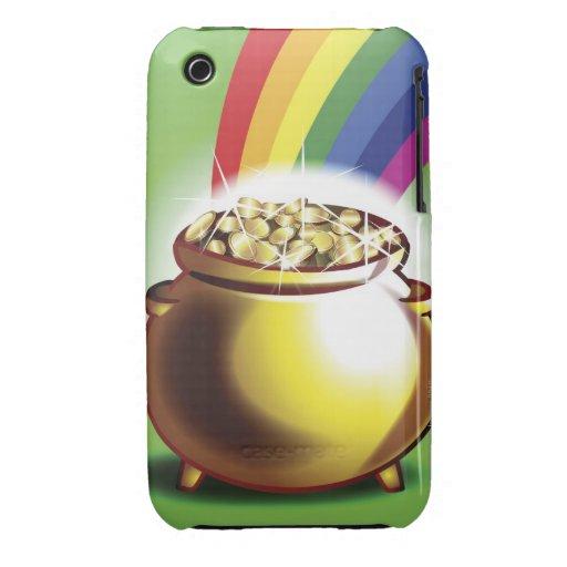 Mina de oro y arco iris iPhone 3 Case-Mate cárcasas