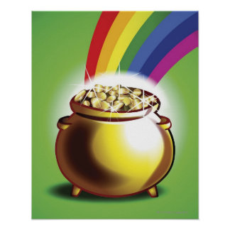 Mina de oro y arco iris póster