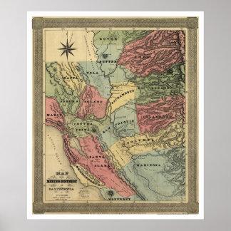 Mina en el mapa de California - 1851 Impresiones