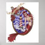 Mina - poster de la sirena del tatuaje póster