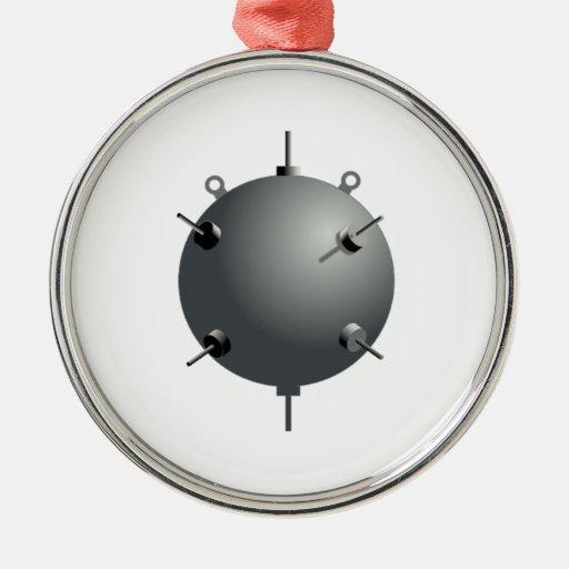 Mina subacuática del mar de la marina de guerra adorno navideño redondo de metal