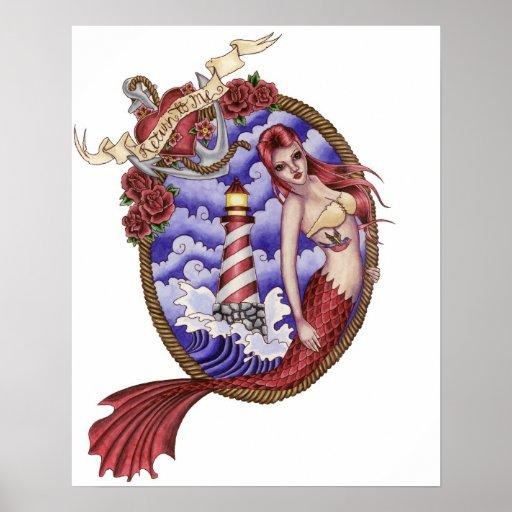 Mina - Tattoo Mermaid Poster