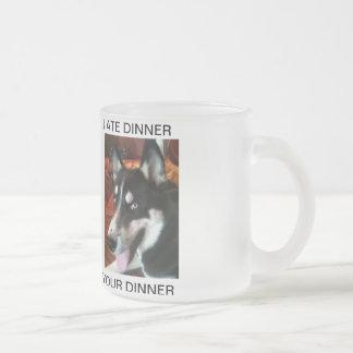 Mina The Siberian Husky - She Ate Your Dinner Frosted Glass Coffee Mug