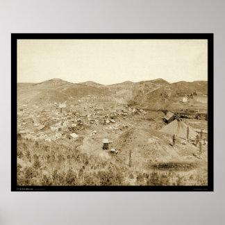 Mina y molino SD 1889 de la ciudad de la ventaja Póster