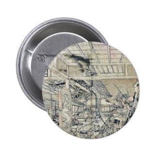 Minamoto battling the spider by Utagawa,Toyoharu Pinback Button