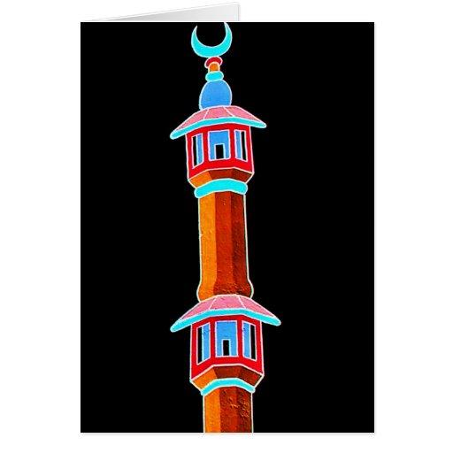 Minaret Stylised Illustration, Multi-Coloured Card