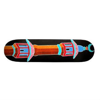 Minaret Stylised Illustration, Multi-Coloured Skateboard Deck