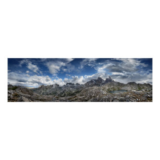 Minarets Panorama above Nydiver Lakes - Sierra Poster