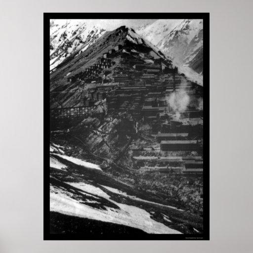 Minas de cobre de Braden en Sewell, Chile 1910 Póster
