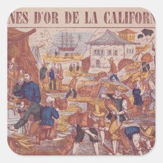 Minas de oro de California Pegatinas Cuadradases