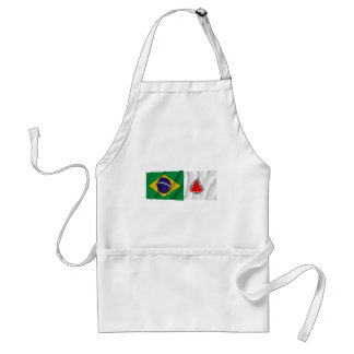 Minas Gerais & Brazil Waving Flags Adult Apron