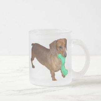 Minature Dachshund Frosted Glass Coffee Mug
