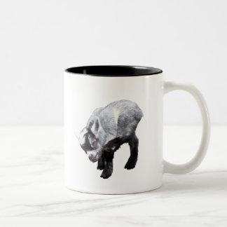 Minature Goat Scratching Two-Tone Coffee Mug