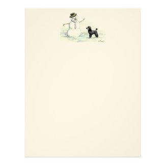 Minature Poodle and Snowman Dog Art Letterhead