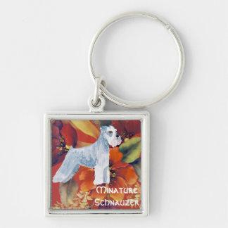 Minature Schnauzer - Autumn Floral Design Keychain