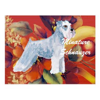 Minature Schnauzer - Autumn Floral Design Postcard