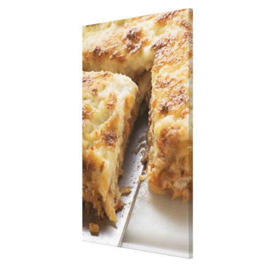 Mince lasagne, a portion cut canvas print