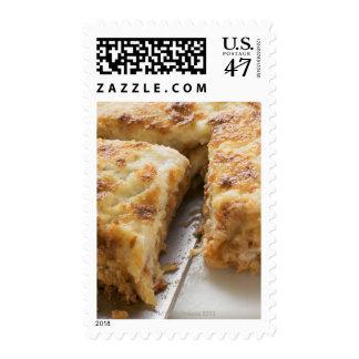 Mince lasagne, a portion cut postage