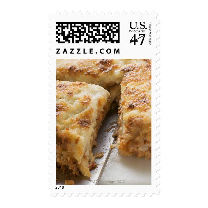 Mince lasagne, a portion cut postage stamp
