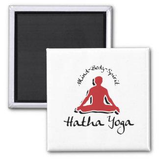 Mind Body Spirit Hatha Yoga 2 Inch Square Magnet